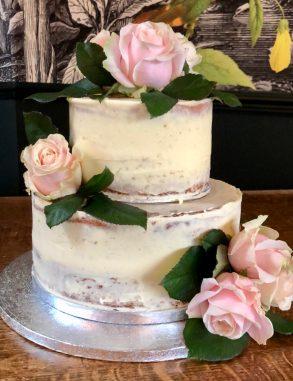 Semi Naked Wedding Cake with Roses