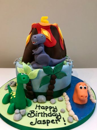 Dinosaur and Volcano Birthday Cake
