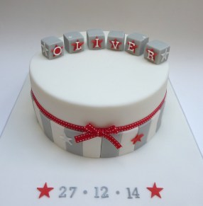 Contemporary boys christening cake