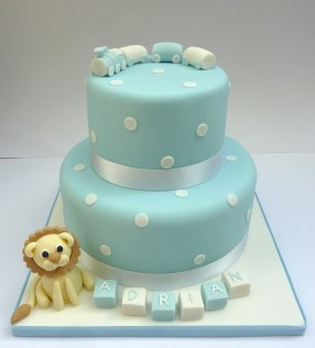 Lion & Train Christening Cake