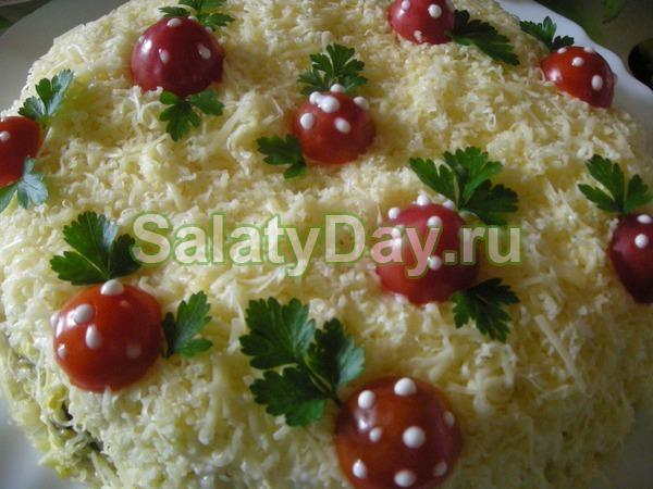 Рецепт салата полянка с грибами. Салат «Грибная поляна» с ...