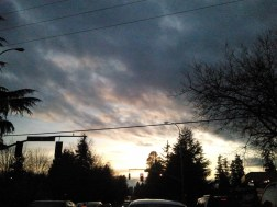The day started with wet snow and ended with a beautiful partially clouded sunset