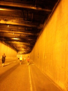Jogging on a closed-for-traffic-today tunnel