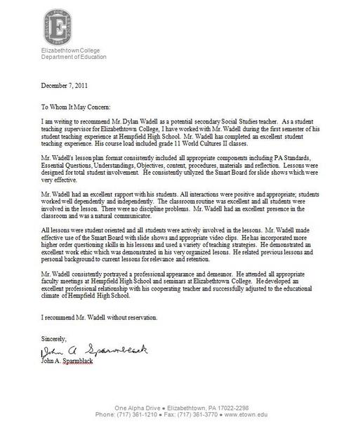 Sample college recommendation letter for high school student