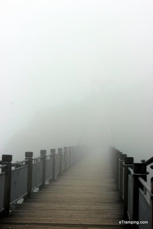 Bridge disappearing in the clouds