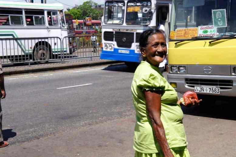 Woman strolling down the street