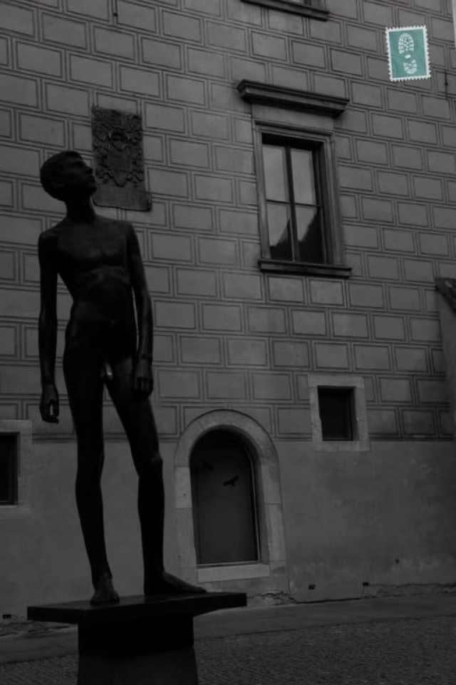 Statue of a man nearby the Charles Castle