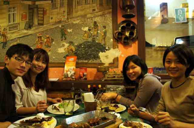 My Taiwanese host (first on the right) with her friends. We enjoyed the food a lot.
