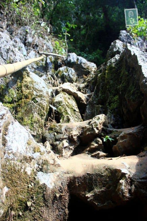 Rock stairs to Tham Phu Kham cave near Vang Vieng