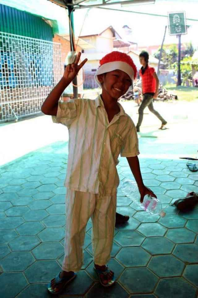 My Khmer friend's son in a Christmas mood