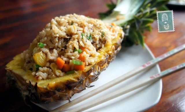 Pineapple fried rice and egg