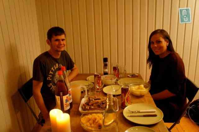 Two people sitting at the dinner