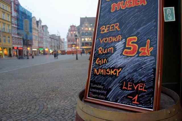 Shot of vodka for 5 zloty <em><strong>($1.5)</strong></em> in city center restaurants wroclaw