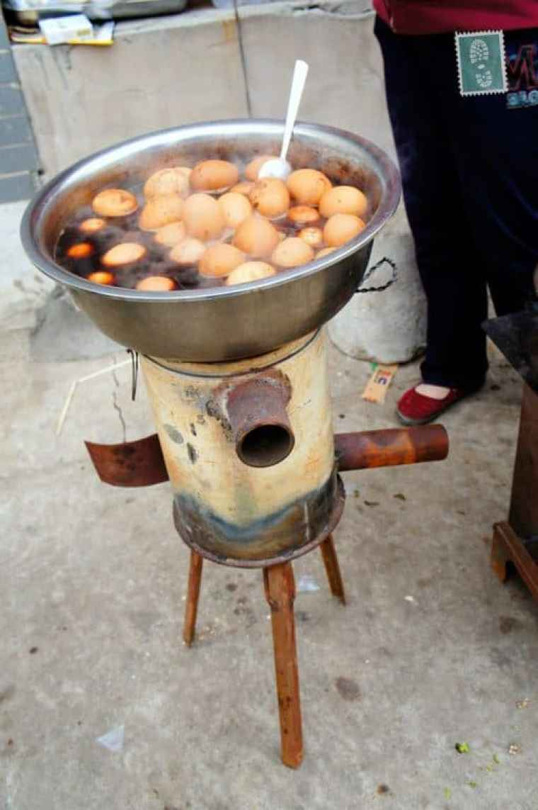 Boiled eggs in the street, China