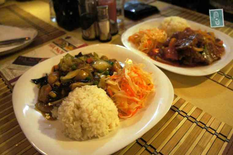 Vietnamese food rice and chicken with mushrooms