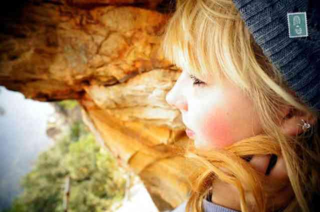 A girl is admiring Admiring the scenery of Zhangjiajie Mountains in Hunan, China.