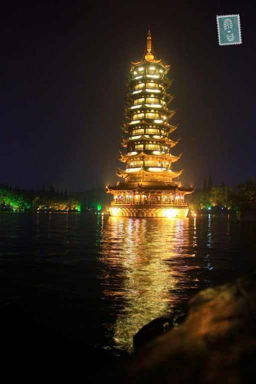 Pagodas, Four Lakes scenery at night, Guilin
