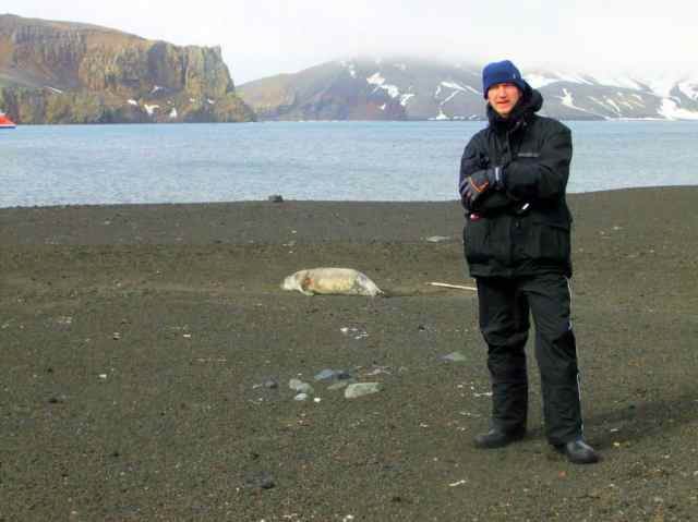 Jonny Blair at Whalers Bay - Antarctica