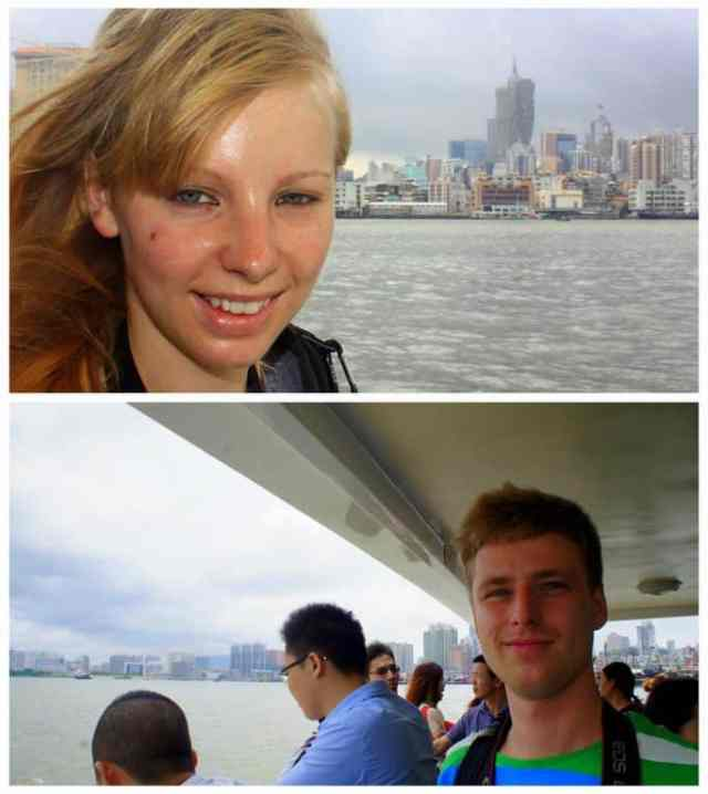 Two people on the ferry to Macau