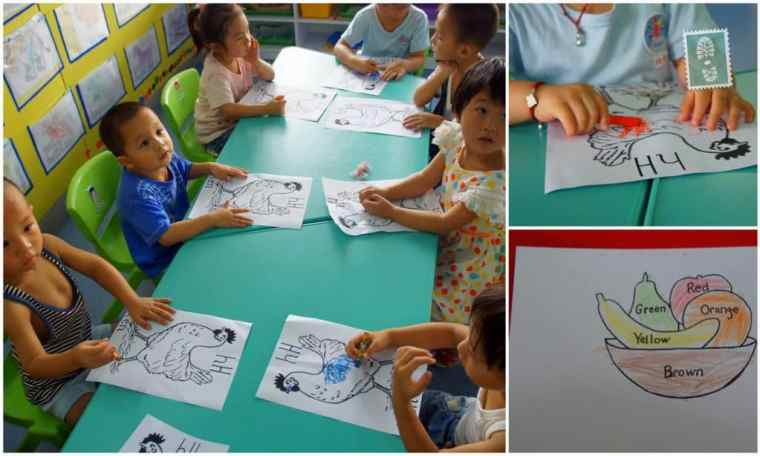 Chinese students color a picture of hen