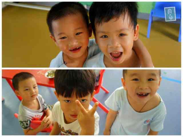 Chinese kindergarten students smiling