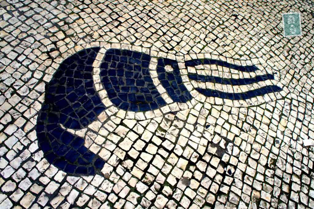 Portuguese style pavement in Macau - Prawn