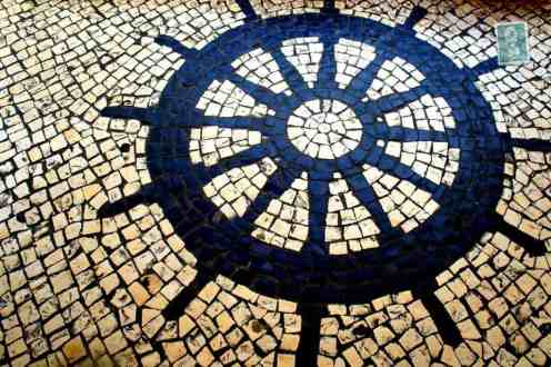 Portuguese style pavement in Macau - steering wheel