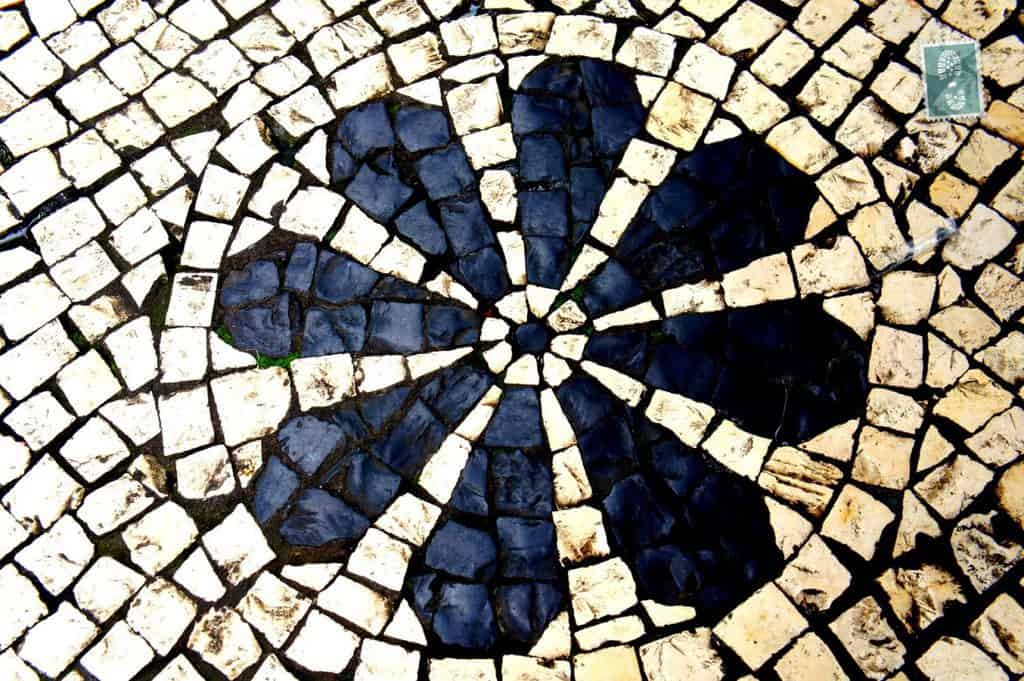 Portuguese style pavement in Macau - Flower