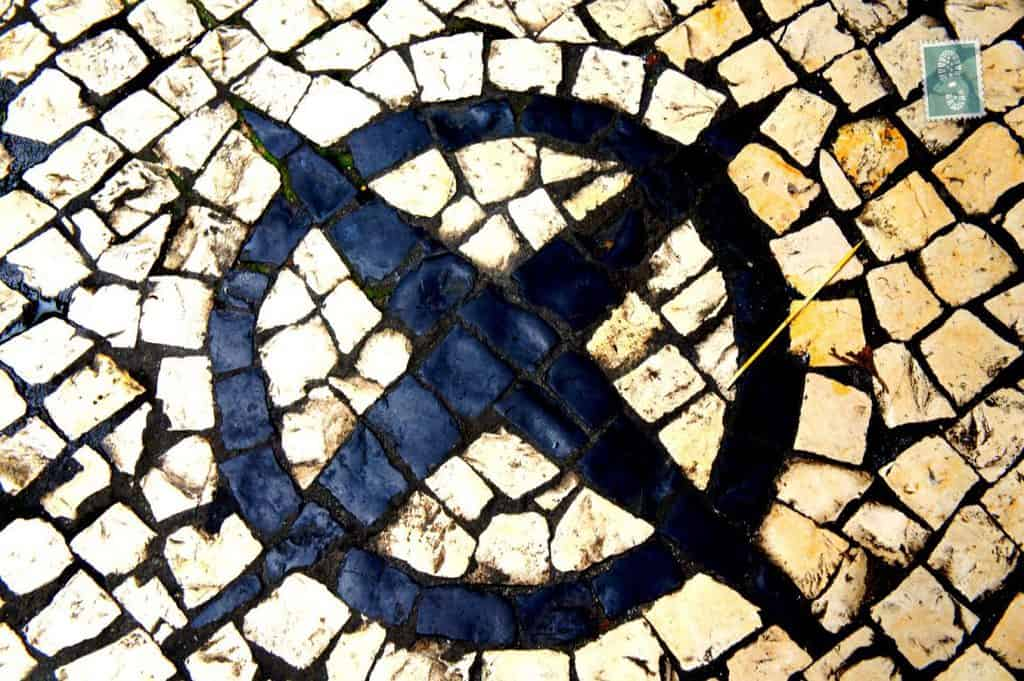 Portuguese style pavement in Macau - Star in a circle