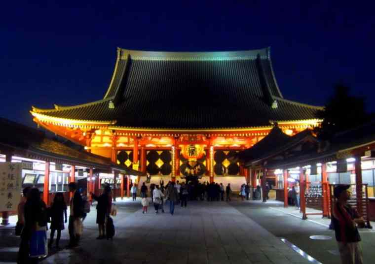 Japanese Temple at night, Tokyo