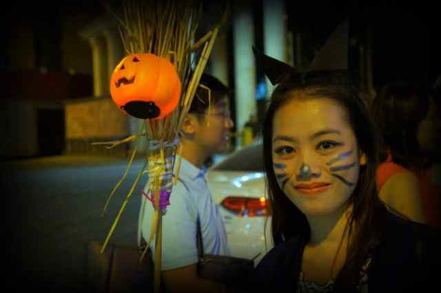Chinese girl dressed up for Halloween