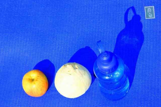 apple, coconut and water