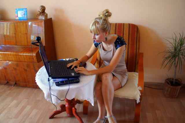 A girl is using laptop