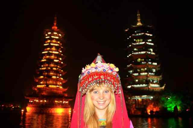 Wearing traditional Chinese clothes in Guilin