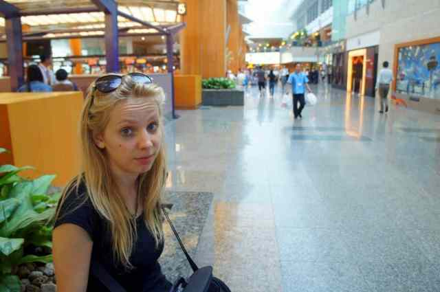 Grumpy girl as Singapore airport