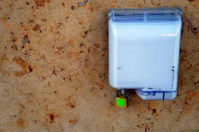 Locked electricity socket at Singapore Changi Airport