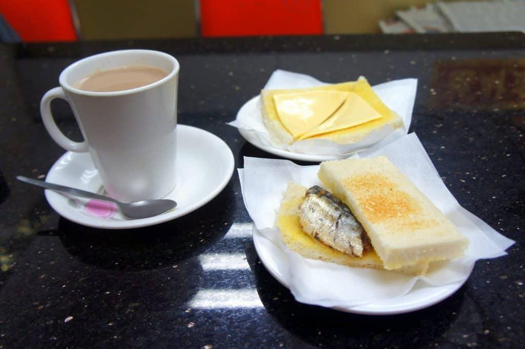 Simple breakfast in Macau - fish sandwich and hot chocolate