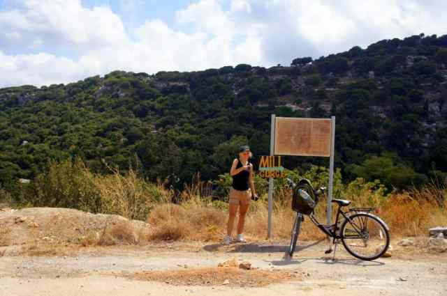 A girl is cycling