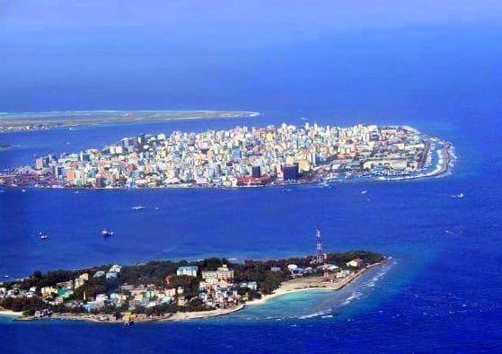 Malé and Villingili viewed from the air