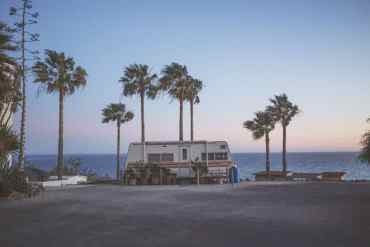 Camper travel palm trees