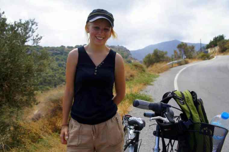 a girl on a bike