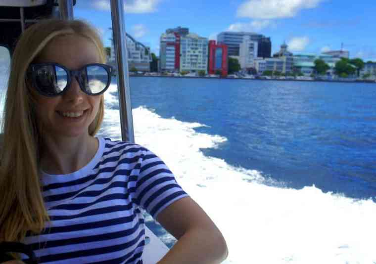 On a boat from Male to Thulusdhoo island, the Maldives