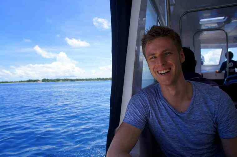 On a boat from Male to Thulusdhoo island