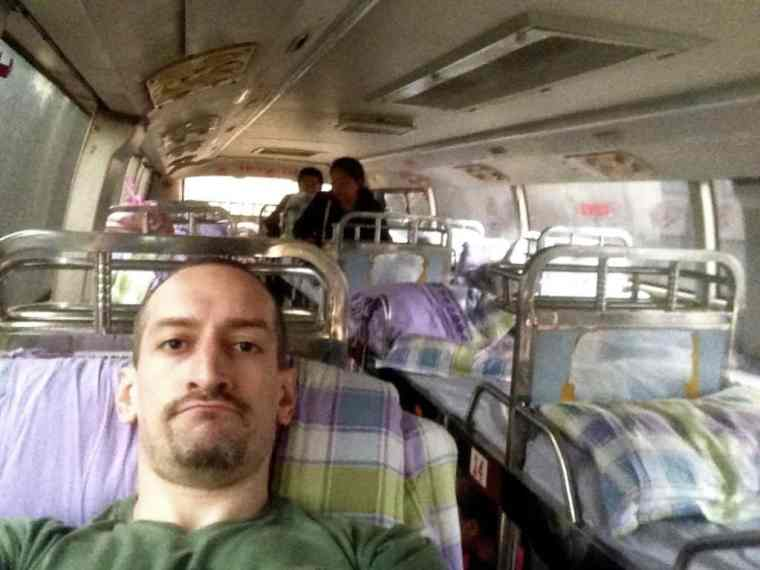 Not a happy traveler on a smelly long-haul sleeper bus in China