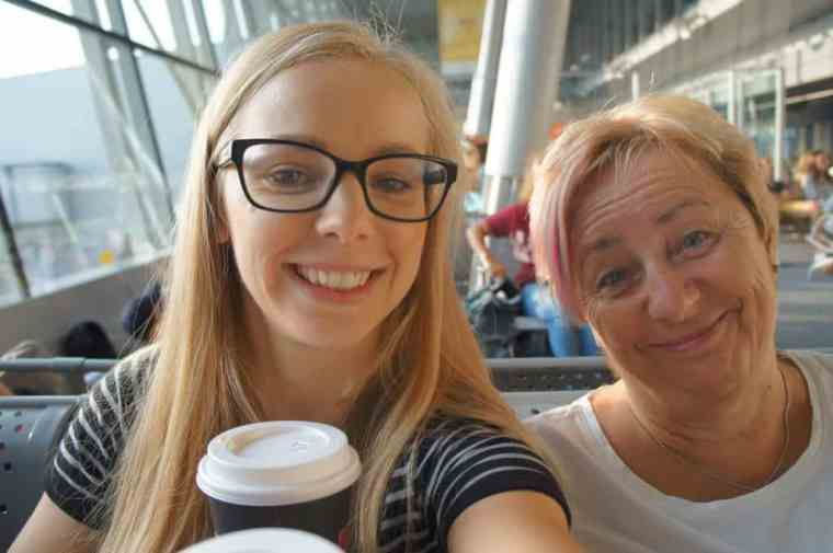 Agness and her mom at the Warsaw airport