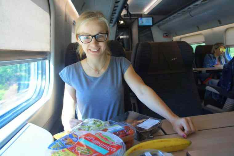 Agness on a train to San Giovanni Rotondo