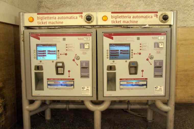 ticket machine in Roma subway