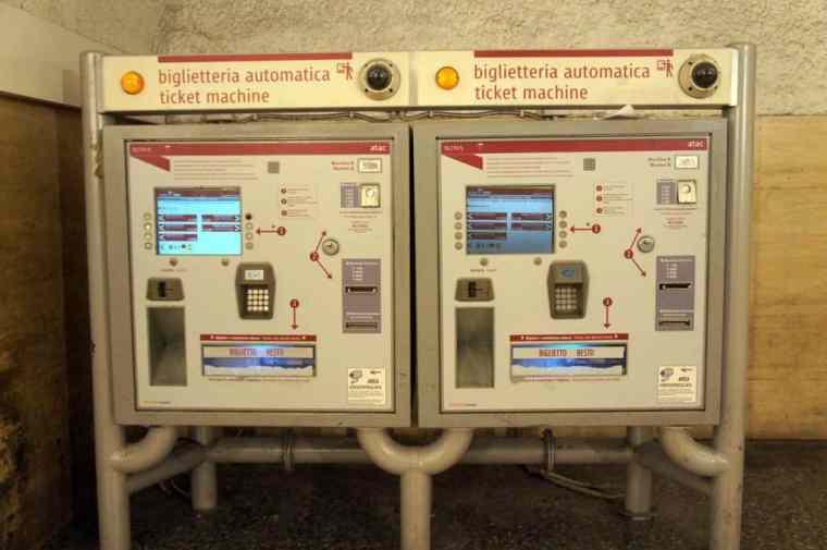 ticket machine in Roma subway