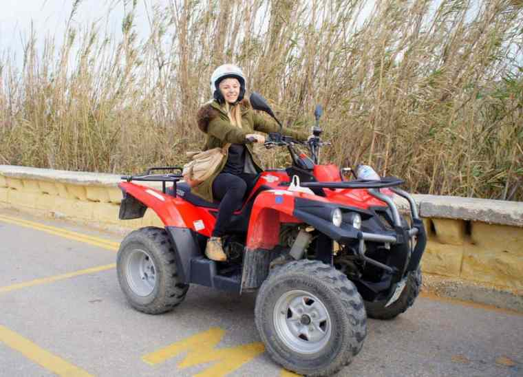 Agness on a quad bike