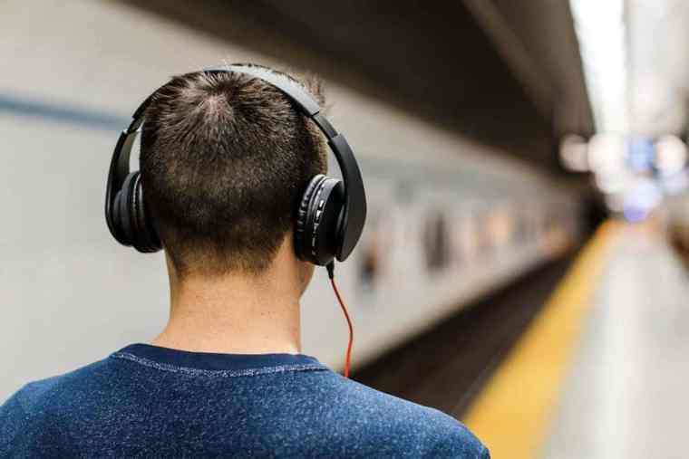 A guy with headphones